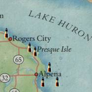 Map of  area lighthouses